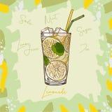 Obra clásica hecha en casa de la limonada en la taza de cristal con la cuña de la paja de beber y de limón Ejemplo de restauració stock de ilustración