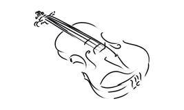 Obra clásica del símbolo de la muestra de la música del dibujo del instrumento del violín Fotos de archivo libres de regalías
