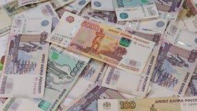 Obracanie Rosyjscy ruble różna godność, zdjęcie wideo