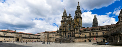 Obradoiro Square. Is one of the most important religious sites in the world. Here is the Cathedral of Santiago, a pilgrimage site for millions of people and Stock Image