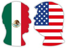 Obrador and Trump portraits silhouette with flags vector illustration