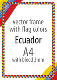 Obramia i granica faborek z kolorami Ekwador flaga Fotografia Royalty Free