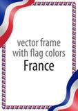 Obramia i granica faborek z kolorami Francja flaga Obraz Stock