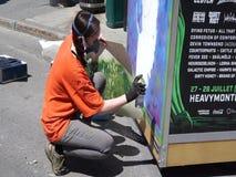 Obras en fase de creación durante festival MURAL almacen de metraje de vídeo