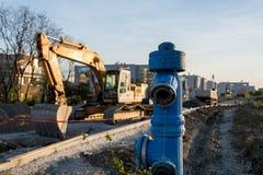Obras por carretera en ciudad Imagenes de archivo