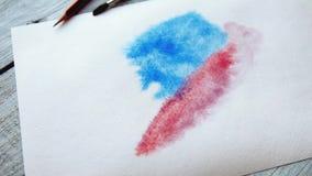 obraz abstrakcyjne Akwareli farby na bielu moczą papier Zamyka up barwioni rozmazy i pluśnięcia zbiory