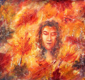 obraz abstrakcyjne Dziewczyna - jesień Jesień liście yellow czerwone Zdjęcia Royalty Free