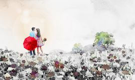 Obraz akwareli krajobraz, kochankowie, stokrotka kwitnie w ogródzie ilustracji