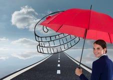 Obraz cyfrowy bizneswomanu mienia czerwony parasol z monetami stoi na drodze przeciw niebu Obrazy Stock