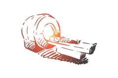 Obraz cyfrowy, ct, diagnostyk, radiologia, cierpliwy pojęcie Ręka rysujący odosobniony wektor ilustracji