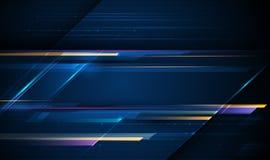 Obraz cyfrowy lekcy promienie, paskuje linie z błękita światłem, prędkością i ruch plamą nad zmrokiem, - błękitny tło royalty ilustracja