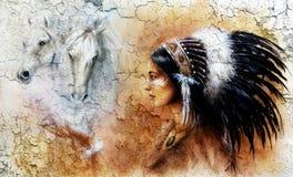 Obraz młoda indyjska kobieta jest ubranym wspaniałego piórkowego pióropusz z wizerunkiem dwa białego konia duchów unosić się, ilustracji