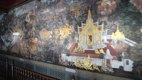 Obraz na ściennej ramayana opowieści przy Szmaragdowym BuddhaWat Phra Kaew lub Watem Phra Si Rattana Satsadaram w Bangkok zdjęcie wideo