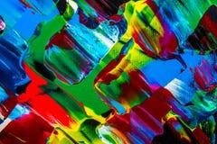 Obraz olejny abstrakcja, jaskrawi kolory Tło Zdjęcia Royalty Free