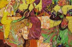 Obraz olejny, artysta Romański Nogin, serii ` Żeńska rozmowa ` autora ` s wersja kolor ilustracja wektor
