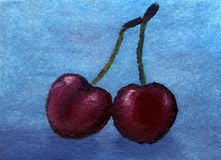 Obraz olejny bajki słodka wiśnia Fotografia Stock