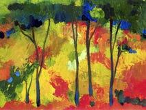 Obraz olejny jesieni drzewa ilustracji