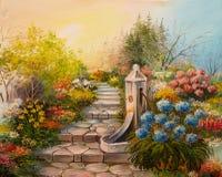 Obraz Olejny - kamienni schodki w lesie Zdjęcie Royalty Free