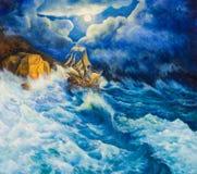 Obraz olejny na kanwie wrak statku Zdjęcia Stock