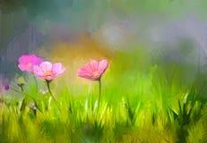 Obraz olejny natury trawy kwiatów kosmosu różowy kwiat ilustracji