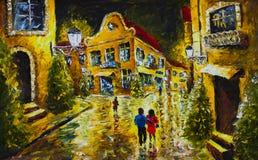 Obraz olejny - noc wieczór miasto, kolorów żółtych domy, światła białe, ludzie z parasolami, mokra droga, odbicie ilustracja wektor