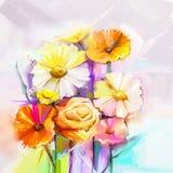 Obraz olejny wiosny kwiat Wciąż życie kolor żółty, menchie, czerwony gerbera i różany bukiet, ilustracja wektor