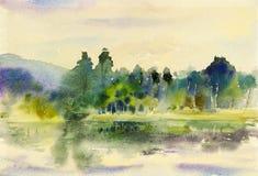 Obraz sztuki akwareli krajobrazu oryginalny kolorowy góra ilustracja wektor