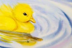 Obraz sztuki akwareli krajobrazu oryginalny kolorowy mała żółta kaczka ilustracji