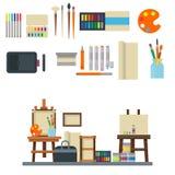 Obraz sztuki narzędzi palety ikony ustalona płaska wektorowa ilustracja wyszczególnia materiały farby kreatywnie wyposażenie Zdjęcie Stock