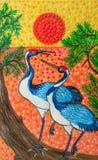Obrazek, dwa Chińskiego żurawia przy zmierzchem, jaskrawi kolory ilustracji