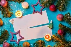 Obrazek jodła rozgałęzia się, pocztówki z życzeniem, gwiazdy Obraz Stock