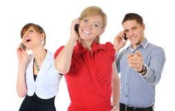 Obrazek mężczyzna i kobieta z telefonami komórkowymi Zdjęcie Royalty Free