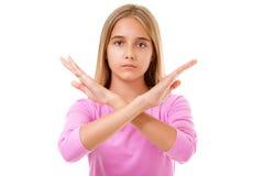Obrazek młoda nastoletnia dziewczyna robi przerwie gestykulować odosobniony obraz royalty free