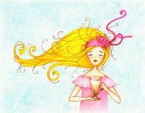 Obrazek młoda piękna kobieta z filiżanką latte royalty ilustracja