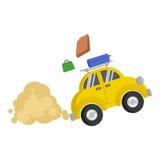 Obrazek mały żółty samochód który szybko jedzie od go i pdpyut walizki Zdjęcie Royalty Free
