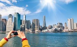Obrazek Nowy Jork linia horyzontu od rzecznego Hudson, Digital - kieszeniowy C Zdjęcie Royalty Free
