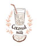 Obrazek połówka koksu i Kokosowy mleko ilustracja wektor