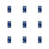 Obrazek przedstawia różne przekątny smartphones ekrany Zdjęcia Stock