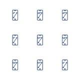Obrazek przedstawia różne przekątny smartphones ekrany Zdjęcie Royalty Free