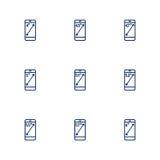 Obrazek przedstawia różne przekątny smartphones ekrany Fotografia Royalty Free