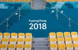 Obrazek pyeongchange olimpijski tytuł w fryzowania centre fotografia stock