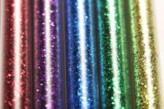 Obrazek setu pięć kolory błyskotliwość w szkle zgrzyta - czerwień, purpura, błękit, zieleń, złoto (kolor żółty) Obrazy Royalty Free
