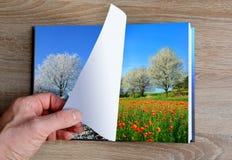 Obrazek zimy i lata krajobraz w książce obrazy royalty free