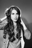 Obrazka zbliżenie piękna młoda dama sensually Fotografia Royalty Free