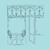 Obrazkowa śliczna uliczna kawiarnia ilustracja wektor