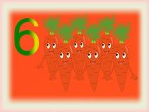Obrazkowa błyskowa karta pokazuje numerowy sześć, marchewka Obrazy Royalty Free