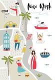 Obrazkowa mapa Nowy Jork z charakterami, roślinami i elementami ślicznych i zabawy ręki rysującymi, kolor plażowej dziewczyny ilu ilustracja wektor