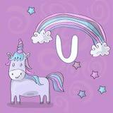 Obrazkowy abecadło list U i jednorożec ABC rezerwuje wizerunku wektoru kreskówkę Magiczna jednorożec, tęcza i gwiazdy na purpurow ilustracja wektor