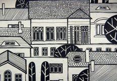 Obrazkowy miasto z ślicznymi budynkami i drzewami ilustracja wektor