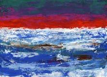 Obrazu guaszu stylu abstrakcjonistyczna sztuka - barwiący br i punkty fotografia royalty free